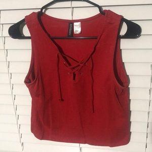 H&M Red tie sleeveless crop top